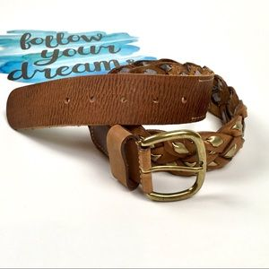 Brown and Gold Woven Belt/ Brass Buckle/Small
